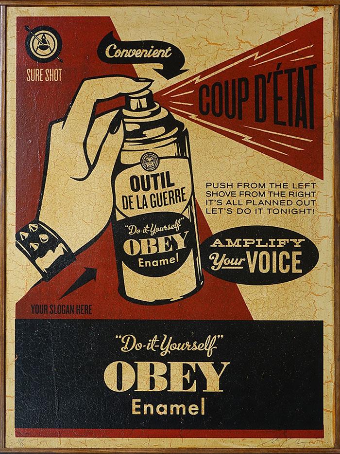 Obey Giant - Coup D'Etat on Wood