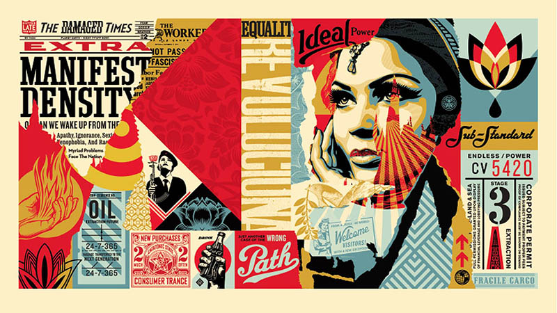 Shepard Fairey - Damaged Wrong Path Large Format Print
