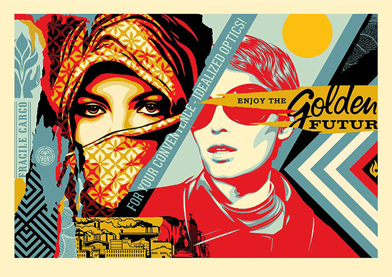 Shepard Fairey - Golden Future Large Format Print